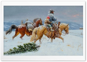 Getting Ready For Christmas Painting HD Wide Wallpaper for 4K UHD Widescreen desktop & smartphone