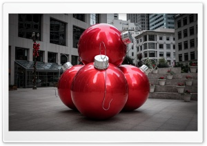 Giant Red Christmas Balls, City Ultra HD Wallpaper for 4K UHD Widescreen desktop, tablet & smartphone