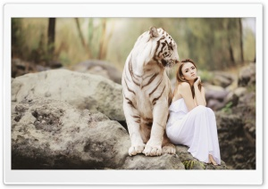 Giant White Tiger and a Girl HD Wide Wallpaper for 4K UHD Widescreen desktop & smartphone