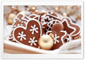 Gingerbread Hearts HD Wide Wallpaper for Widescreen