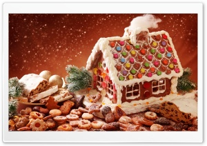Gingerbread House And Cookies HD Wide Wallpaper for Widescreen