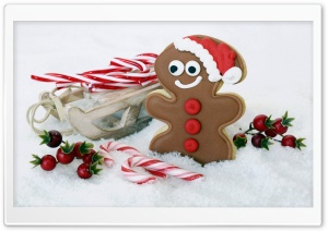 Gingerbread Man Cookie, Candy Canes, Christmas HD Wide Wallpaper for 4K UHD Widescreen desktop & smartphone