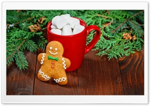 Gingerbread Man, Red Mug of Hot Chocolate with Marshmallows Ultra HD Wallpaper for 4K UHD Widescreen desktop, tablet & smartphone