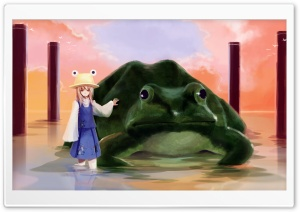 Girl And Big Frog HD Wide Wallpaper for Widescreen