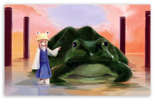 Girl And Big Frog HD wallpaper for Wide 16:10 5:3 Widescreen WHXGA WQXGA WUXGA WXGA WGA ; HD 16:9 High Definition WQHD QWXGA 1080p 900p 720p QHD nHD ; UHD 16:9 WQHD QWXGA 1080p 900p 720p QHD nHD ; Standard 4:3 5:4 3:2 Fullscreen UXGA XGA SVGA QSXGA SXGA DVGA HVGA HQVGA devices ( Apple PowerBook G4 iPhone 4 3G 3GS iPod Touch ) ; iPad 1/2/Mini ; Mobile 4:3 5:3 3:2 16:9 5:4 - UXGA XGA SVGA WGA DVGA HVGA HQVGA devices ( Apple PowerBook G4 iPhone 4 3G 3GS iPod Touch ) WQHD QWXGA 1080p 900p 720p QHD nHD QSXGA SXGA ; Dual 4:3 5:4 UXGA XGA SVGA QSXGA SXGA ;