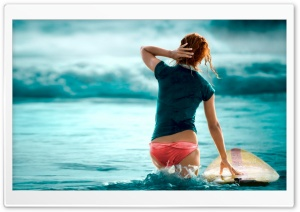 Girl And Blue Sea HD Wide Wallpaper for Widescreen