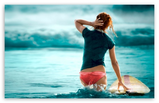Download Girl And Blue Sea HD Wallpaper