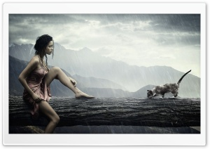 Girl And Cat HD Wide Wallpaper for Widescreen