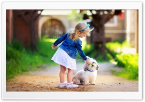 Girl and Dog HD Wide Wallpaper for Widescreen