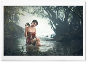 Girl Bathing Outdoor HD Wide Wallpaper for Widescreen
