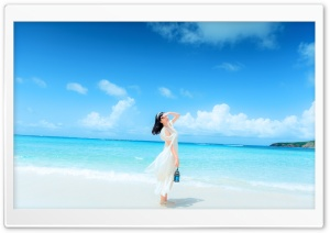 Girl Beach Background HD Wide Wallpaper for Widescreen