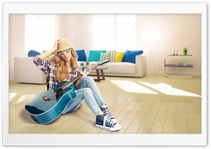 Girl Blue Acoustic Guitar Ultra HD Wallpaper for 4K UHD Widescreen desktop, tablet & smartphone