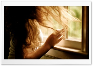 Girl by the Window HD Wide Wallpaper for Widescreen