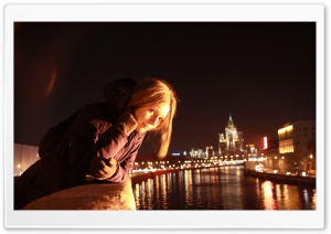 Girl, City At Night HD Wide Wallpaper for Widescreen