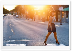 Girl Crossing The Street HD Wide Wallpaper for Widescreen