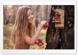 Girl Feeding The Birds HD Wide Wallpaper for Widescreen