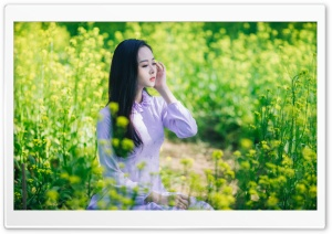 Girl Field of Flowers HD Wide Wallpaper for Widescreen