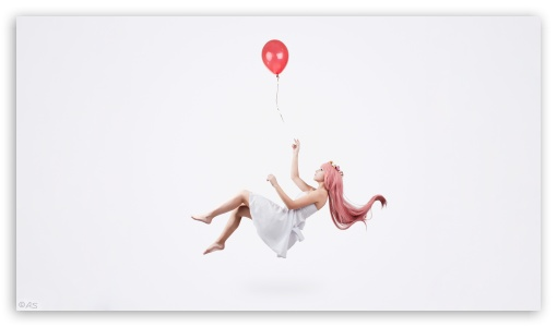 Girl Flying Holding a Balloon UltraHD Wallpaper for 8K UHD TV 16:9 Ultra High Definition 2160p 1440p 1080p 900p 720p ; UHD 16:9 2160p 1440p 1080p 900p 720p ; Mobile 16:9 - 2160p 1440p 1080p 900p 720p ;