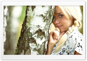 Girl Hiding Behind Tree HD Wide Wallpaper for Widescreen