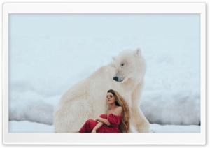 Girl in a Red Dress, Polar Bear, Winter, Snow HD Wide Wallpaper for 4K UHD Widescreen desktop & smartphone