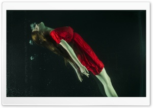 Girl in a Red Dress Underwater Photography Ultra HD Wallpaper for 4K UHD Widescreen desktop, tablet & smartphone