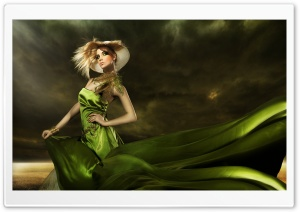 Girl in Green Dress HD Wide Wallpaper for Widescreen
