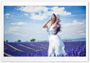 Girl In Lavanda Field HD Wide Wallpaper for 4K UHD Widescreen desktop & smartphone