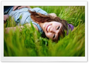 Girl In The Grass HD Wide Wallpaper for Widescreen