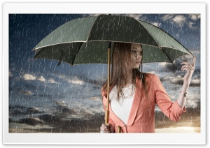 Girl In The Rain HD Wide Wallpaper for Widescreen