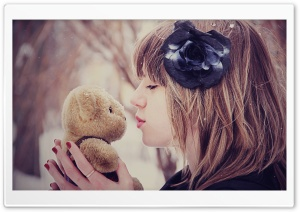 Girl Kissing Teddy Bear HD Wide Wallpaper for Widescreen
