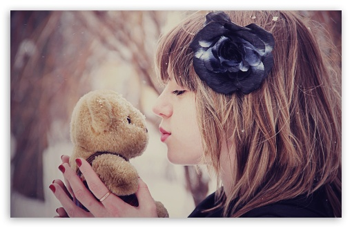 Girl Kissing Teddy Bear HD wallpaper for Wide 16:10 5:3 Widescreen WHXGA WQXGA WUXGA WXGA WGA ; HD 16:9 High Definition WQHD QWXGA 1080p 900p 720p QHD nHD ; Standard 4:3 5:4 3:2 Fullscreen UXGA XGA SVGA QSXGA SXGA DVGA HVGA HQVGA devices ( Apple PowerBook G4 iPhone 4 3G 3GS iPod Touch ) ; Tablet 1:1 ; iPad 1/2/Mini ; Mobile 4:3 5:3 3:2 16:9 5:4 - UXGA XGA SVGA WGA DVGA HVGA HQVGA devices ( Apple PowerBook G4 iPhone 4 3G 3GS iPod Touch ) WQHD QWXGA 1080p 900p 720p QHD nHD QSXGA SXGA ;