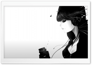 Girl Listening To Music Bw HD Wide Wallpaper for Widescreen