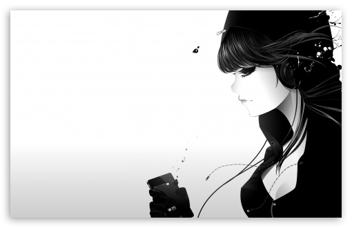 Girl Listening To Music Bw HD desktop wallpaper : Widescreen