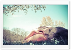 Girl Lying In The Grass HD Wide Wallpaper for Widescreen