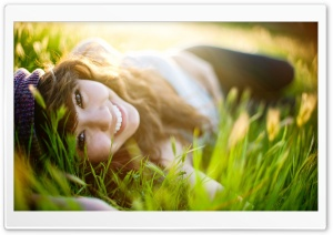 Girl Lying On Grass HD Wide Wallpaper for 4K UHD Widescreen desktop & smartphone
