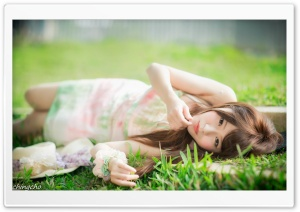Girl Lying on the Grass HD Wide Wallpaper for Widescreen
