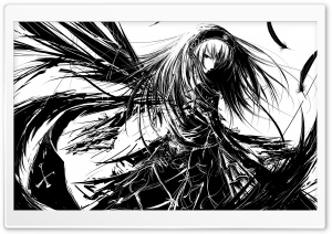 Girl Manga BW HD Wide Wallpaper for Widescreen