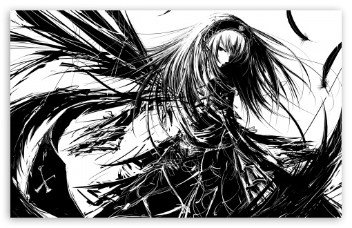 Girl Manga BW HD desktop wallpaper : High Definition : Fullscreen