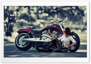 Girl Motorcycle HD Wide Wallpaper for Widescreen
