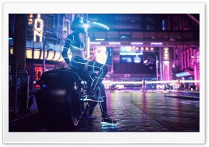 Girl Motorcycle Streets Art Ultra HD Wallpaper for 4K UHD Widescreen desktop, tablet & smartphone