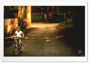 Girl On Bicycle HD Wide Wallpaper for Widescreen
