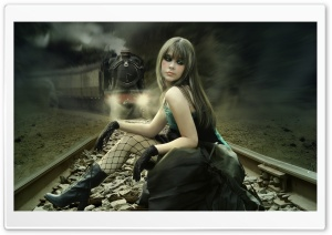 Girl On Rail Tracks Painting HD Wide Wallpaper for Widescreen