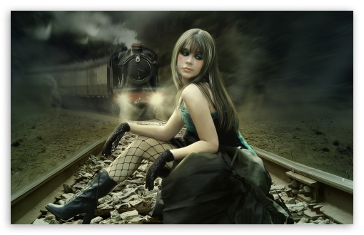Girl On Rail Tracks Painting HD wallpaper for Wide 16:10 5:3 Widescreen WHXGA WQXGA WUXGA WXGA WGA ; HD 16:9 High Definition WQHD QWXGA 1080p 900p 720p QHD nHD ; Standard 4:3 5:4 3:2 Fullscreen UXGA XGA SVGA QSXGA SXGA DVGA HVGA HQVGA devices ( Apple PowerBook G4 iPhone 4 3G 3GS iPod Touch ) ; iPad 1/2/Mini ; Mobile 4:3 5:3 3:2 16:9 5:4 - UXGA XGA SVGA WGA DVGA HVGA HQVGA devices ( Apple PowerBook G4 iPhone 4 3G 3GS iPod Touch ) WQHD QWXGA 1080p 900p 720p QHD nHD QSXGA SXGA ;