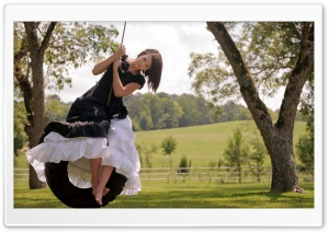 Girl On Tire Swing HD Wide Wallpaper for Widescreen