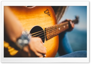 Girl Playing Acoustic Guitar Close-up Ultra HD Wallpaper for 4K UHD Widescreen desktop, tablet & smartphone