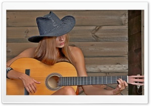 Girl Playing Guitar HD Wide Wallpaper for Widescreen