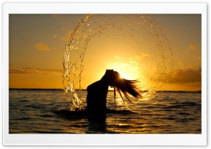Girl Playing In The Water HD Wide Wallpaper for Widescreen