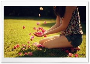 Girl Playing With Flowers HD Wide Wallpaper for Widescreen