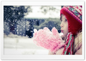 Girl Playing With Snow HD Wide Wallpaper for 4K UHD Widescreen desktop & smartphone