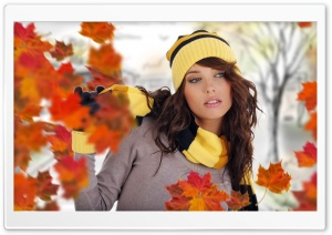 Girl Posing Autumn HD Wide Wallpaper for Widescreen